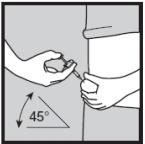 Ilustração de uso correto da aplicação da injeção de Humira