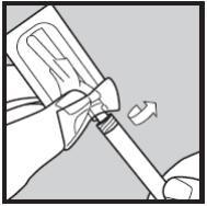 Ilustração para retirar a agulha do invólucro