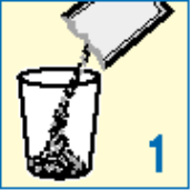 Ilustração para esvaziar o Sache de Protos em um copo