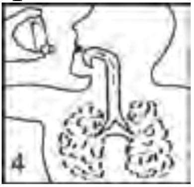 Ilustração para prender a respiração após o uso de Aerolin spray
