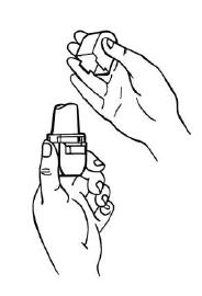 Ilustração para retirar a tampa do inalador
