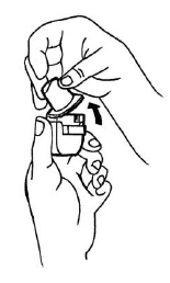 Ilustração para segurar a base do inalador e, para abri-lo, levante o bocal na direção indicada pela seta existente na lateral do bocal.