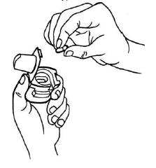 Ilustração para colocar cápsula no compartimento interno, na base do inalador
