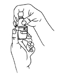 Ilustração para fechar o frasco e o inalador. É importante que a cápsula somente seja retirada do frasco imediatamente antes do uso do inalador.