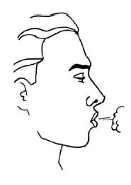 Ilustração para soltar o ar dos pulmões o máximo possível