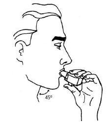 Ilustração para colocar o bocal do inalador na boca e fechar os lábios ao redor dele
