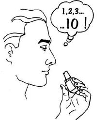 Ilustração para segurar a respiração contando mentalmente até 10 (aproximadamente 10 segundos)