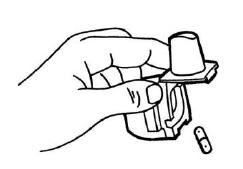 Ilustração para que após o uso, abra o inalador, remova e descarte a cápsula vazia. Feche o bocal e recoloque a tampa.