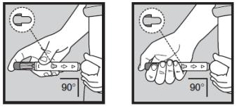 Ilustração de aplicação do Humira com a caneta de aplicação