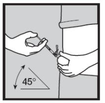 Ilustração para introduzir a agulha na pele