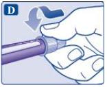 Ilustração para empurrar a agulha na caneta do Saxenda