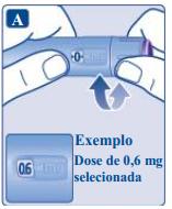 Ilustração para girar o seletor de dose até aparecer a dose recomendada de Saxenda