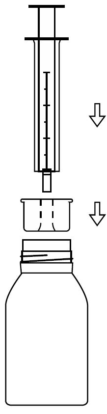 Ilustração de utilização da seringa de Ebastel