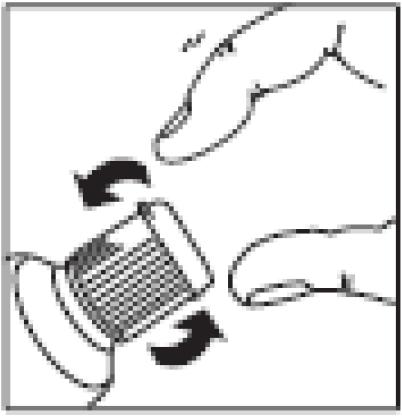 Ilustração para girar a tampa em sentido anti-horário, até sua completa remoção.