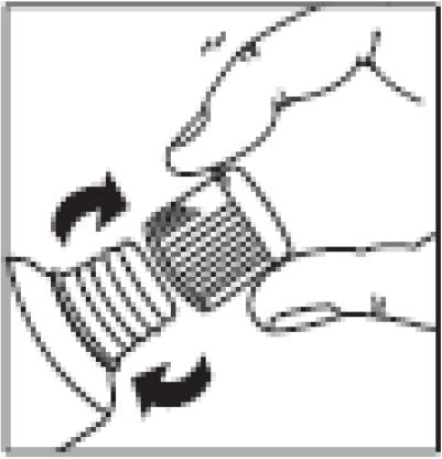 Ilustração para inserir novamente a tampa e gire em sentido horário até travar.
