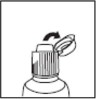 Ilustração para empurrar a aba da tampa para cima e utilize a pomada.