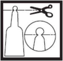 Ilustração de como cortar a embalagem de Minilax