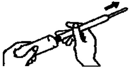 Ilustração para encher o aplicador, segurar com firmeza a bisnaga e o aplicador encaixado e apertar suavemente a bisnaga até que o êmbolo chegue ao topo