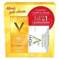 Kit Vichy Capital Soleil FPS 50 com Cor + Normaderm Sabonete Dermatológico