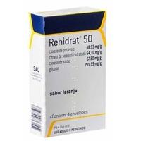 Rehidrat 50 48,93mg/g + 64,30mg/g + 57,50mg/g + 791,55mg/g, caixa com 4 envelopes com 7,625g de pó para solução de uso oral, laranja