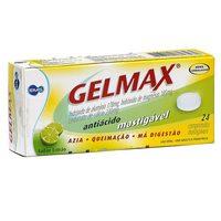 Gelmax 178mg + 185mg + 230mg, caixa com 24 comprimidos mastigáveis, limão