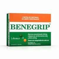 Benegrip 500mg + 30mg + 2mg, caixa com 20 comprimidos revestidos
