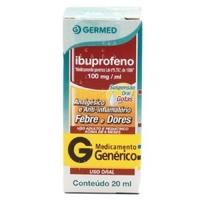 Ibuprofeno Germed Pharma 100mg/mL, caixa com 1 frasco com 20mL de suspensão de uso oral + conta gotas