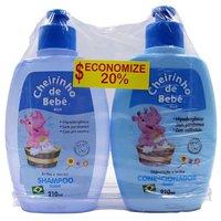Kit Cheirinho de Bebê azul, shampoo, 210mL + condicionador, 210mL