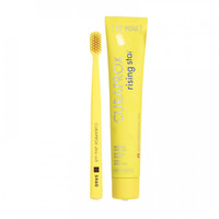 rising star, escova dental, amarelo + creme dental, grapefruit e tangerina, 90mL