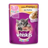 Ração para Gatos Whiskas Filhotes Sachê frango ao molho com 85g