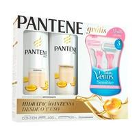 1 shampoo 400mL + 1 condicionador 200mL + aparelho Gillette Venus Sensitive