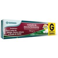 Maleato de Dexclorfeniramina Creme Germed Pharma 10mg/g, caixa com 1 bisnaga com 30g de creme de uso dermatológico