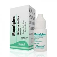 Maxalgina Solução Oral 500mg/mL, caixa com 1 frasco gotejador com 20mL de solução de uso oral