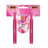 Aparelho de Depilação Bic Comfort 3 Pink 2 unidades