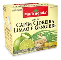 Chá Madrugada capim-cidreira, limão e gengibre, 6 caixas de 10 sachês cada