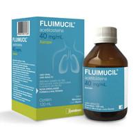 Fluimucil 40mg/mL, caixa com 1 frasco com 120mL de xarope + copo medidor