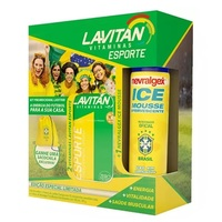 Kit Lavitan Esporte frasco com 60 comprimidos, 2 unidades + nevvralgex ice, 100mL + grátis, sacochila, 1 unidade