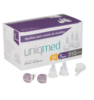 Agulha para Caneta de Insulina Uniqmed 31G, 5mm com 100 unidades