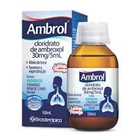Ambrol 30mg/5mL, caixa com 1 frasco com 100mL de xarope de uso adulto + 1 copo medidor