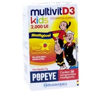 Multivit D3 Kids Popeye morango, 2000mg, caixa com 30 comprimidos mastigáveis