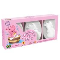 Sabonete Infantil Cheirinho de Bebê rosa, barra, 80g, 3 unidades