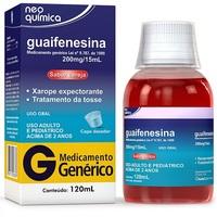 Guaifenesina Neo Química 13,3mg/mL, caixa com 1 frasco com 120mL de xarope + copo medidor, cereja