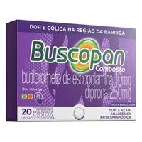 Buscopan Composto 10mg + 250mg, caixa com 20 comprimidos revestidos