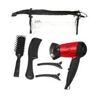 mini secador, dobrável, vermelho e preto + pente + escova + prendedor, 2 unidades + necessaire