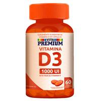 Vitamina D3 Vita Premium 1000UI, frasco com 60 cápsulas