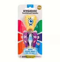 Porta Escova Dental Flipper Fun Animal dentinho, amarelo e roxo, 2 unidades