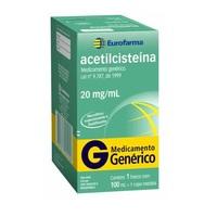 Acetilcisteína Eurofarma 20mg/mL, caixa com 1 frasco com 100mL de xarope + 1 copo medidor