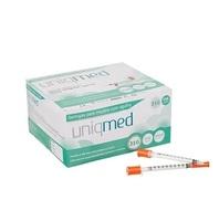Seringa de Insulina Uniqmed agulha fixa 6mm x 25mm, 100 unidades com capacidade de 1mL cada
