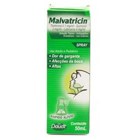 Malvatricin Spray 50mg + 100mg + 200mg, caixa com 1 frasco spray com 50mL de solução de uso tópico