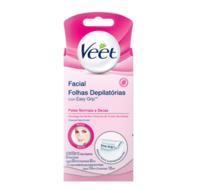 Folhas Depilatórias Veet Peles Normais e Secas facial com 12 unidades + lenços umedecidos com 2 unidades